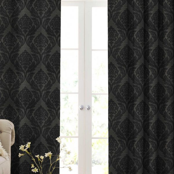 DARK GREY DAMASK