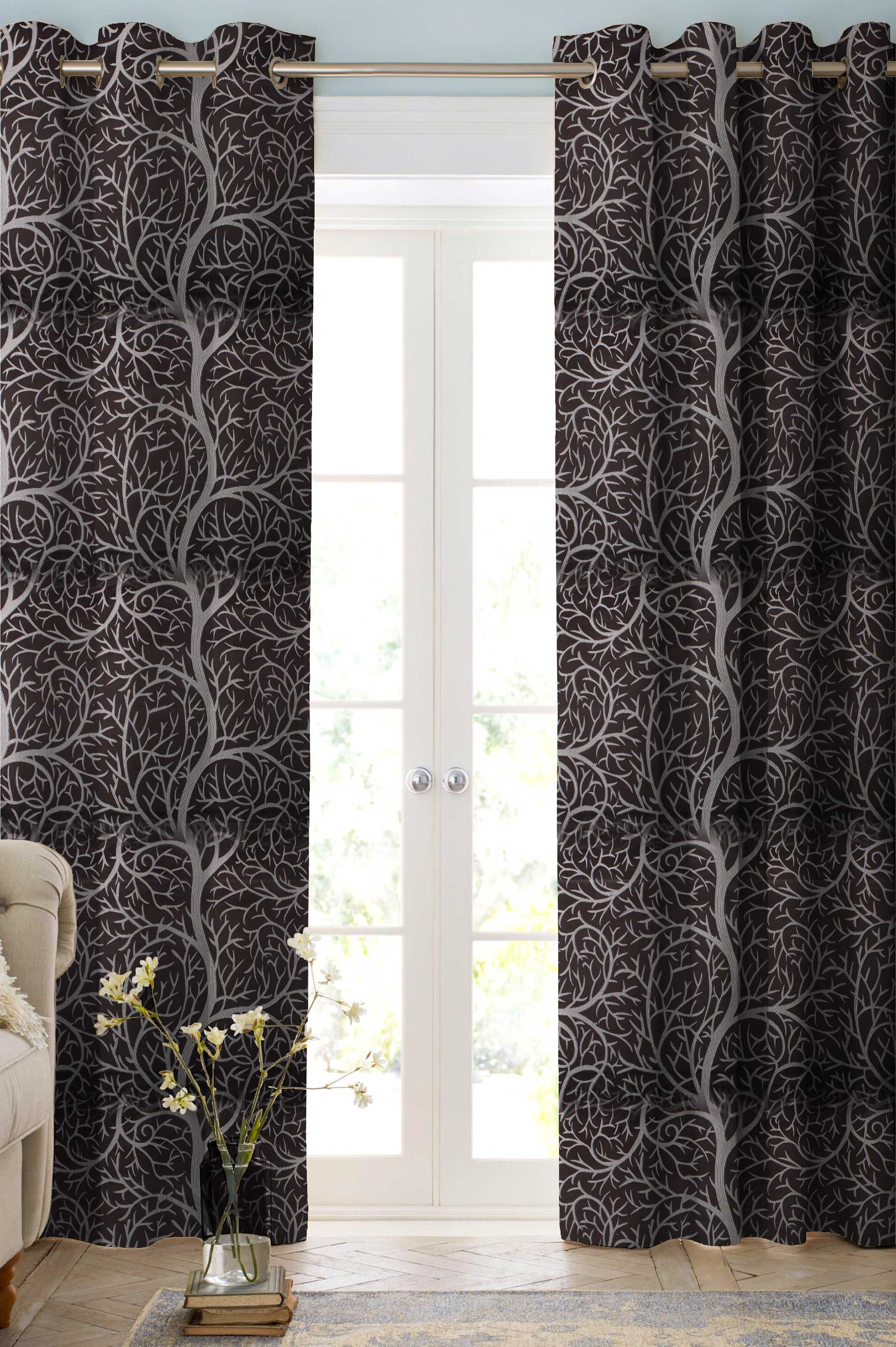 Cream Winter Tree Contemporary Curtains